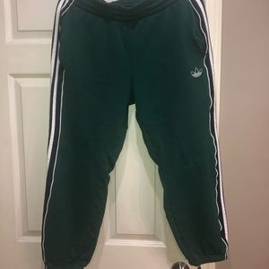 adidas green navy/white striped sweatpants size XL